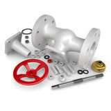 Disassembled valve. Isolated render on a white background Royalty Free Stock Photos