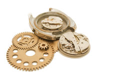 Disassembled wrist watch and gears Royalty Free Stock Image