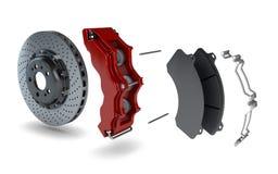 Disassemblierte Bremsplatte mit rotem Tasterzirkel von einem Rennwagen Lizenzfreies Stockbild