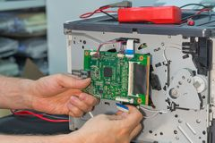 Disassembly of the laser printer for repair. stock image
