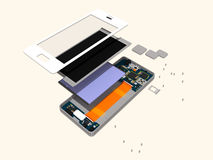 Disassembly of a modern touch phone. Royalty Free Stock Photos