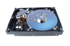 Disassemled hard disc isolated Royalty Free Stock Photography