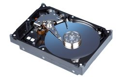 Disassemled hard disc isolated Stock Images