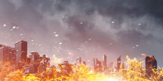 Disaster in city concept . Mixed media Stock Photography