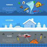 Disaster Concept 3 Flat Banners Set Stock Photography