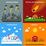 Disaster Concept 4 Flat Icons Square Banner. Natural disaster concept 4 flat icons square composition banner with meteorite and drought abstract  vector Royalty Free Stock Photo