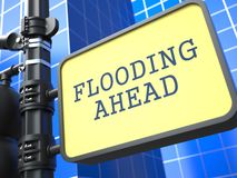 Disaster Concept. Flooding Ahead Roadsign. Disaster Concept. Flooding Ahead Roadsign on Blue Background Stock Images