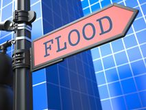 Disaster Concept. Flooding Ahead Roadsign. Disaster Concept. Flood Red Roadsign Arrow on Blue Background Stock Images
