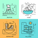 Disaster Damage Colored Icon Set Stock Photo