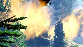 Disaster with fire in the forest 3d rendering Royalty Free Stock Photos