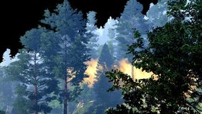Disaster with fire in the forest 3d rendering Royalty Free Stock Photography