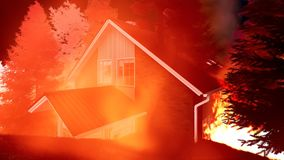 Disaster with fire in the forest 3d rendering. Disaster with fire in the forest Royalty Free Stock Photography