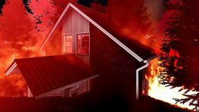 Disaster with fire in the forest 3d rendering. Disaster with fire in the forest Stock Images