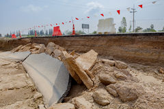 Disaster of highway road after flood water in thailand Royalty Free Stock Photo