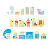 Disaster icon collection. Destruction of buildings set of icons. Earthquake Fault skyscrapers. Fire in business center. Flooding of plant houses, flats vector illustration