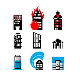 Disaster icon collection. Fire, earthquake and flood. Destroyed. City building Royalty Free Stock Image