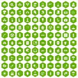 100 disaster icons hexagon green. 100 disaster icons set in green hexagon isolated vector illustration Stock Photo