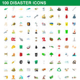 100 disaster icons set, cartoon style. 100 disaster icons set in cartoon style for any design vector illustration Stock Photos