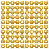 100 disaster icons set gold. 100 disaster icons set in gold circle isolated on white vectr illustration vector illustration