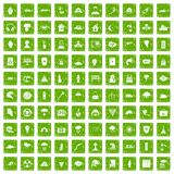 100 disaster icons set grunge green. 100 disaster icons set in grunge style green color isolated on white background vector illustration Stock Photo