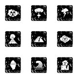 Disaster icons set, grunge style Royalty Free Stock Photography