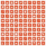 100 disaster icons set grunge orange. 100 disaster icons set in grunge style orange color isolated on white background vector illustration Royalty Free Stock Image