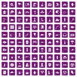 100 disaster icons set grunge purple Royalty Free Stock Photos