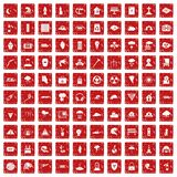 100 disaster icons set grunge red Royalty Free Stock Photo