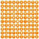 100 disaster icons set orange. 100 disaster icons set in orange circle isolated vector illustration stock illustration
