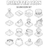 Disaster icons set, outline style. Disaster icons set in outline style. Catastrophe and crisis set collection vector illustration Royalty Free Stock Photos