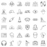 Disaster icons set, outline style Stock Images