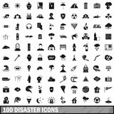100 disaster icons set, simple style Royalty Free Stock Photos