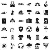 Disaster icons set, simple style. Disaster icons set. Simple style of 36 disaster vector icons for web isolated on white background Stock Photo