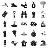 Disaster icons set, simple style. Disaster icons set. Simple set of 25 disaster vector icons for web isolated on white background Stock Photography