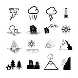 Disaster nature power icons Royalty Free Stock Photography
