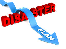 Disaster plan. Plan arrow jumping over disaster on white background, disaster word in red, plan arrow in blue, disaster management concept royalty free illustration