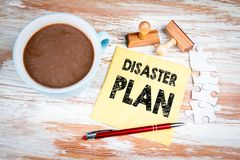 Disaster Plan concept. Text on a napkin stock photo