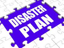 Disaster Plan Puzzle Shows Danger Emergency Crisis Protection Stock Photos