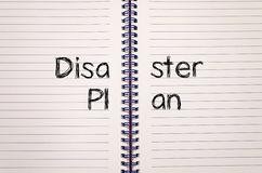 Disaster plan text concept. Write on notebook Stock Photography