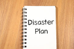 Disaster plan text concept. Write on notebook Stock Photos