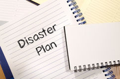 Disaster plan text concept Stock Image