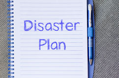 Disaster plan write on notebook. Disaster plan text concept write on notebook with pen Stock Photos