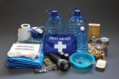 Disaster preparedness items royalty free stock photo