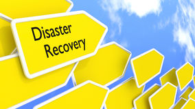 Disaster recovery concept arrows in front of blue sky Royalty Free Stock Photography