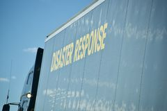 Disaster Response for Hurricanes, Tornado and Flooding. A disaster response vehicle carries supplies and materials for those effected by natural disasters such stock images