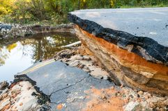 Disaster Road. A road that has been devastated from flooding royalty free stock images