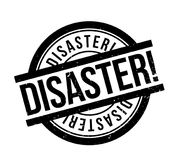 Disaster rubber stamp. Grunge design with dust scratches. Effects can be easily removed for a clean, crisp look. Color is easily changed Stock Images