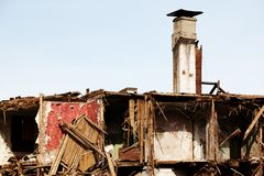 Disaster ruined house. Hurricane earthquake disaster damage ruined house Royalty Free Stock Photo