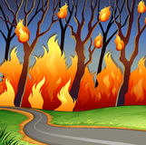 Disaster scene of forest fire. Illustration Royalty Free Stock Photography