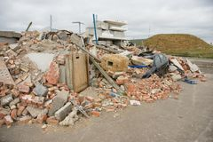 Building collapse. Disaster zone, building collapse, earthquake Stock Photos
